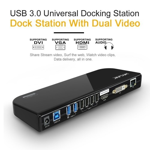 Wavlink USB 3.0 Universal Docking Station for Dual Video Monitor Display with DVI HDMI VGA Gigabit Ethernet 6 USB Ports for Laptop Ultrabook and PCsWavlink USB 3.0 Universal Docking Station for Dual Video Monitor Display with DVI HDMI VGA Gigabit Ethernet 6 USB Ports for Laptop Ultrabook and PCs<br>