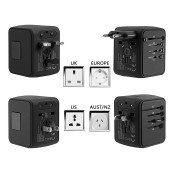 Universal Travel Adapter fit for over 150 Countries All in one Worldwide Charger Wall Plug with 4 USB Ports for US/ AU/ UK/EU Anti-thunderUniversal Travel Adapter fit for over 150 Countries All in one Worldwide Charger Wall Plug with 4 USB Ports for US/ AU/ UK/EU Anti-thunder<br>