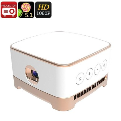 P07 Mini Projector - Android 5.1, 100 Inch Projection, 50 ANSI Lumen, 854x480 Resolution, 4200mAh Battery, 1:1000 Contrast RatioP07 Mini Projector - Android 5.1, 100 Inch Projection, 50 ANSI Lumen, 854x480 Resolution, 4200mAh Battery, 1:1000 Contrast Ratio<br>