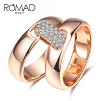 ROMAD Fashion Double Rings New Plated Alloy Women's Ring with Zircon Rose Gold
