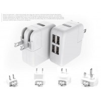 PINGLE Mini 4*USB Ports 3.1A Travel Power Adapter Wall Charger with AU/US/EU/UK Plug for Cell Phone