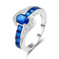 ROMAD Silver Plated Copper Zircon Womens Ring with Blue Glass StoneROMAD Silver Plated Copper Zircon Womens Ring with Blue Glass Stone<br>