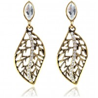 ROMAD Fashion Vintage Gold/Siver Plated Alloy Stud Leaf Pendant Earring with Clear Zircon