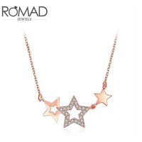 ROMAD Fashion Rose Gold Alloy Zircon Necklace with Star PendantROMAD Fashion Rose Gold Alloy Zircon Necklace with Star Pendant<br>