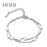 ROMAD Fashion Plated Alloy Double Chain Bracelet with White Bead