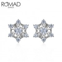 ROMAD Fashion Bling-Bling Snowflake Design New Plated Copper Women's Earing Stud with Clear Zircon