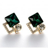ROMAD Fashion New Alloy Green Clear Zircon Womens Pierce Earring StudROMAD Fashion New Alloy Green Clear Zircon Womens Pierce Earring Stud<br>