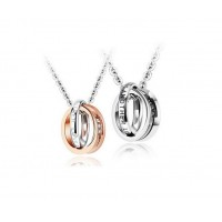 Fashion Stainless Steel Love-promise Necklace Double Rings Pendants with Zircon for Couple Lover