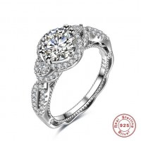 ROMAD 925 Silver Hollow Round Clear Zircon Women's Ring for Wedding Engagement