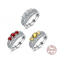 ROMAD 925 Silver Double Rings Yellow Red Clear Zircon Women's Ring for Wedding Engagement