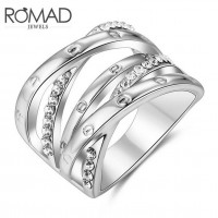 ROMAD Fashion Cross Style New Plated Alloy Women's Ring with Clear Zircon Silver Color