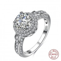 ROMAD 925 Silver Round Zircon Women's Ring for Wedding Engagement