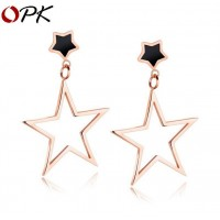 OPK Fashion Rose Gold Plated Stainless Steel Women's Pierce Earring Stud with Star Pendant