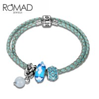 ROMAD Fashion New Sky Blue Genuine Leather Womens Bracelet with Agate BeadROMAD Fashion New Sky Blue Genuine Leather Womens Bracelet with Agate Bead<br>