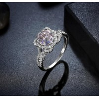 ROMAD S925 Silver Clear Zircon Flowr Design Women's Ring for Wedding Engagement