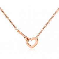 Fashion Stainless Steel Women's Necklace w/ Heart and Key Pendants