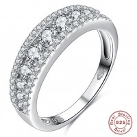 ROMAD 925 Silver Row Zircon Women's Ring for Wedding Engagement