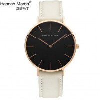 Fashion Ultra Thin Rose Gold Stainless Steel Quartz Women's Watch with Leather Band