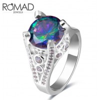 ROMAD Fashion New Plated Copper Clear Zircon Women's Ring Four Claws Colorful Round Glass Stone