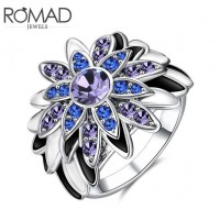 ROMAD Fashion Sunflower Design New Plated Alloy Women's Ring with Glass Stone Rose Gold
