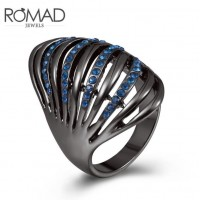 ROMAD Fashion New Black Plated Alloy Women's Ring with Blue Zircon