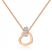 Fashion Rose Gold Plated Stainless Steel Women's Necklace w/ Heart and Zircon Ring Pendants