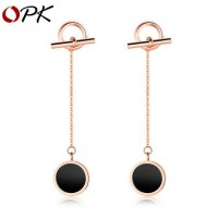 OPK Fashion Rose Gold Plated Stainless Steel Women's Pierce Earring Stud with Long Pendant
