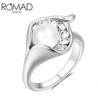 ROMAD Fashion New Plated Alloy Pearl Womens Ring with Clear Zircon Silver ColorROMAD Fashion New Plated Alloy Pearl Womens Ring with Clear Zircon Silver Color<br>