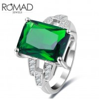 ROMAD Platinum Plated Copper Zircon Womens Ring with Green Glass StoneROMAD Platinum Plated Copper Zircon Womens Ring with Green Glass Stone<br>