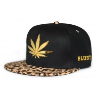 Fashion leather leopard brim gold leaf hiphop snapback casual flat brim baseball cap hat