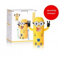 Despicable Me Cute Minions Design Set Cartoon small yellow people Toothbrush Holder Automatic Toothpaste Dispenser Brush Cup