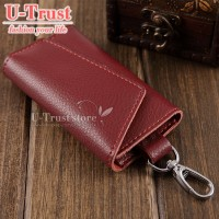 Genuine Leather Men Car Key Holder Women Multifunction Coin Purse Card Wallet