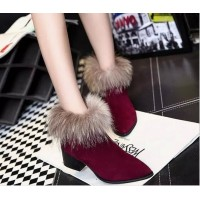 Short raccoon fur real fur winter boots cotton boots rough with the mouth pointed short boots Martin influx of women boots shoes