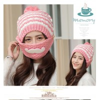 Korean female winter knit hat mustache cups warm wind thickening plus velvet ear wool hat