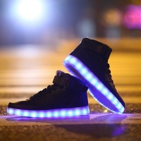 Colorful Flashing LED Luminous Shoes High-Top Men and Women Couple High Shoes Fluorescent Light Shoes Free Shipping