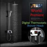 Intelligent digital display thermostatic temperature control faucet full copper shower faucet shower hot and cold shower suit suit