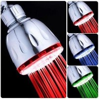 Colorful Temperature Control LED Light Bathroom Shower Head #F Water Rain Faucet