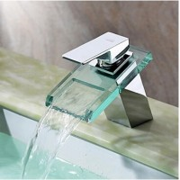 Sprinkle Waterfall Bathroom Sink Faucet with Glass Spout(Chrome Finish)