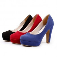 New women suede high-heeled shoes waterproof heeled, Europe and the United States OL style career mature sexy high-heeled