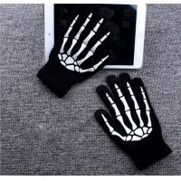 Fashion skeleton hand knitted gloves/offset printing ghost touch magic claw touch screen warm gloves
