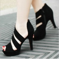 Free shipping Pedicure cross-strap PU thick heel sandals black velvet women's shoes summer platform high-heeled shoes