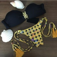 2016 bikini Summer Sexy Bikinis suit Women Swimwear Fashion Bathing Suit triangle Bandage Swimsuit Plus Size paded bra black print flower bikini set