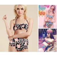 2016 bikini Summer Sexy Bikinis suit Women Swimwear Fashion Bathing Suit high waisted triangle Bandage Swimsuit Plus Size paded bra black print flower bikini set