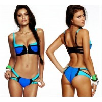 2016 bikini Summer Sexy pathwork Bikinis suit Women Swimwear Fashion Patchwork Bathing Suit triangle Bandage Swimsuit Plus Size paded bra zipped bikini set