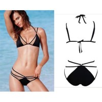 2016 Summer Sexy Bikinis suit Women Swimwear Fashion Patchwork Bathing Suit Halter Bandage Swimsuit Plus Size black push up bikini set perspective trikini set