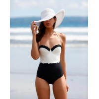 2016 Summer one piece suit Women Swimwear Fashion Patchwork Bathing Suit Halter Bandage Swimsuit Plus Size black push up bikini set