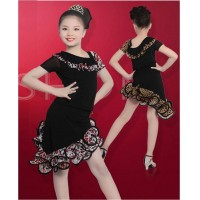 Girls' Latin dance drees training short sleeved clothing