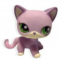 Littlest pet shop rare green eyes purple hair cat limited partner # 2094