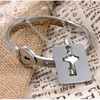 Heart Love Bracelet with Lock Key Pendant Titanium Steel Bangle Couple Sets