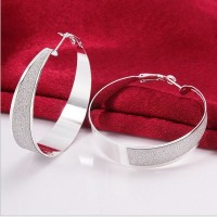 Fashion Style Women Lady 925 Pure Silver Hoop Round Big Earrings Ear Stud